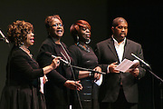 "19 January 2015-Santa Barbara, CA: The Arlington Theater Program; ""Lift Every Voice and Sing"", St. Paul Baptist Church Mass Choir, Rev Jai Nix Dir.  Santa Barbara Honors Dr. Martin Luther King Jr. with a Day of Celebration.  The Santa Barbara MLK, Jr. Committee chose ""Drum Majors for Justice"" as it's theme for the day which included a Pre-March Program in De la Guerra Plaza followed by a march up State Street to the Arlington Theater for speakers, music and poetry.  The program concluded with a Community Lunch at the First United Methodist Church in Santa Barbara.  Photo by Rod Rolle"