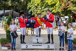 EUFINGER Bettina (GER), MÜLLER Philipp (GER), KUHLEMANN Uwe (GER)<br /> Paderborn - OWL Challenge 5. Etappe BEMER Riders Tour 2019<br /> Preis des Amateur-Springreiterclub (CSN)<br /> Finale ASC-Trophy 2019 <br /> Springprüfung mit Stechen, national<br /> 14. September 2019<br /> © www.sportfotos-lafrentz.de/Stefan Lafrentz