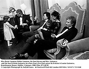 Miss Rosie Langton, Robin Langton, the hon Kieran and Mrs. Guinness and the hon Erskine Guinness at a New Year's Eve Party given by Erskine & Louise Guinness. Knockmaron House. Dublin. 1 January 1988. Film. 871140/30<br />