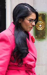 Downing Street, London, November 3rd 2015.  Employment Minister Priti Patel leaves 10 Downing Street after attending the weekly cabinet meeting. /// Licencing: Paul@pauldaveycreative.co.uk Tel:07966016296 or 020 8969 6875