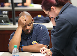 Albany City Police Chief Michael Persley takes on the task of keeping his city safe from the Albany & Dougherty County joint emergency operating center as Hurricane Irma approaches on Sunday, September 10, 2017, in Albany, Ga. Photo by Curtis Compton/Atlanta Journal-Constitution/TNS/ABACAPRESS.COM