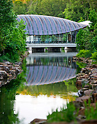 Exterior architectural photography of the east entrance of Crystal Bridges Museum of American Art on Sunday, June 9, 2013, in Bentonville, Ark.