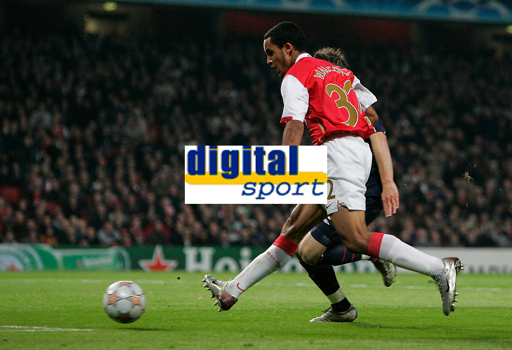 Photo: Tom Dulat.<br /> Arsenal v Slavia Prague. Group H, UEFA Champions League. 23/10/2007.<br /> Theo Walcott scores his second goal for Arsenal and fifth of the game. Arsenal leads 5-0