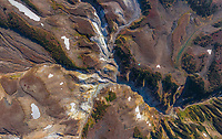 Aerial view of Death Valley, Kamchatka, Russia
