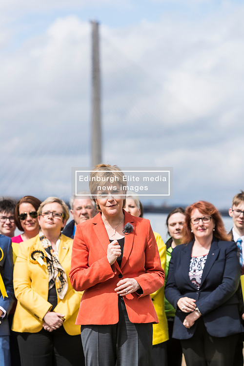 Nicola Sturgeon makes a speech in South Queensferry, with the backdrop of the new Queensferry Crossing, marking 10 years of the SNP delivering in government and setting our her party's ambition for the future.