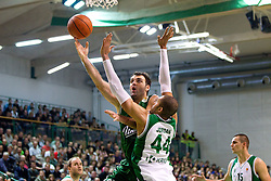 Ratko Varda of Union Olimpija vs Jerome Jordan of Krka during basketball match between KK Krka and Union Olimpija Ljubljana of Round 7th of ABA League 2011/2012, on November 12, 2011 in Arena Leon Stukelj, Novo mesto, Slovenia. (Photo By Vid Ponikvar / Sportida.com)