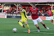 Luke Varney and Dave Winfield  during the The FA Cup 1st round match between Ebbsfleet and Cheltenham Town at Stonebridge Road, Ebsfleet, United Kingdom on 10 November 2018.