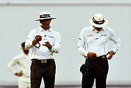 The umpires testing the ball before replacing it during day 3 of the 5th test match of the International Test Match 2018 match between England and India at the Oval, London, United Kingdom on 9 September 2018.