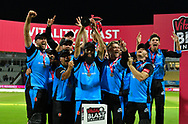 Moeen Ali of Worcestershire lifts the Vitality Blast trophy with his team mates during the presentations during the final of the Vitality T20 Finals Day 2018 match between Worcestershire Rapids and Sussex Sharks at Edgbaston, Birmingham, United Kingdom on 15 September 2018.
