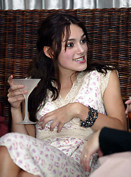 Actress Keira Knightley at The launch of The Irish Film and TV Awards 2003 in Dublin.  Funny, drunk, drinking.<br />