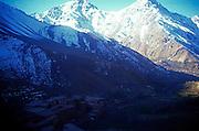 Snow capped mountain peaks in the Jebel Toubkal range, Atlas mountains, near Imlil, Morooco
