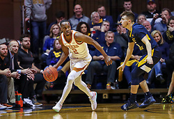 Feb 9, 2019; Morgantown, WV, USA; Texas Longhorns guard Matt Coleman III (2) dribbles during the second half against the West Virginia Mountaineers at WVU Coliseum. Mandatory Credit: Ben Queen-USA TODAY Sports