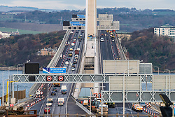 South Queensferry, United Kingdom. 1 December, 2017. Southbound carriageway of new Queensferry Bridge is closed to allow emergency repairs to the carriageway. Southbound traffic from Fife is being diverted over the adjacent Forth Road Bridge which has been opened temporarily to traffic. Remedial snagging work to the Queensferry Bridge is expected to take 10 months.