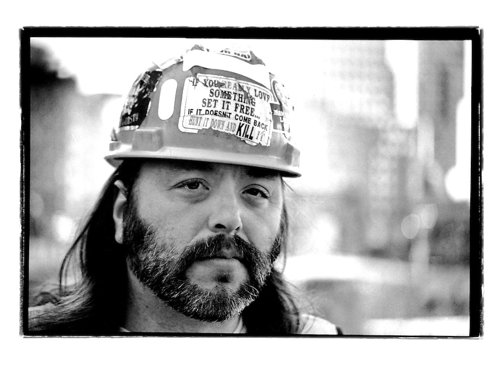 In the days after the 9/11 memorial I talked to this metal worker at Ground Zero. The aftermath stories this man told were horrific. And then... I noticed the sticker on his hard hat. It read 'If you really love something, set it free. If it doesn't come back, hunt it down and kill it'. That basically summed up the emotions some New Yorkers went through during those days.