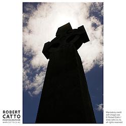 Marsden Cross at Oihi Bay, Purerua Peninsula, Bay of Islands, Northland, New Zealand.<br />
