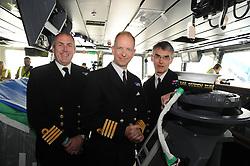 HMS Queen Elizabeth, Rosyth,24-5-2016        <br /> <br /> Cpt Petitt, Cpt Kid and Cpt Groom<br /> <br /> (c) David Wardle   Edinburgh Elite media