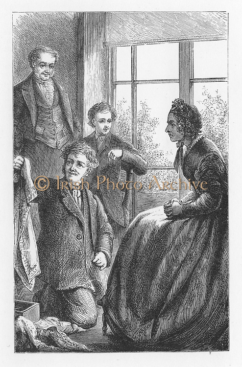Aunt Clegg, one of Mrs Tulliver's sisters, looking over the goods in Bob Jakin's pack. Illustration by Walter James Allen (active 1859-1891) for an undated 19th century edition of  'The Mill on the Floss' by George Eliot, originally published 1860.