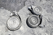 Fire fighters equipment hoses ready for use