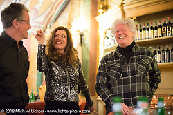 One of the best parts of Italy - the Food! Ray Drea of Harley-Davidson with Ela Dutch and Biker Billy at a wonderful dinner at the 12 Apostles Restaurant (in continuous operation with the same name for almost 300 years) during Motor Bike Expo. Verona, Italy. January 23, 2016.  Photography ©2016 Michael Lichter.