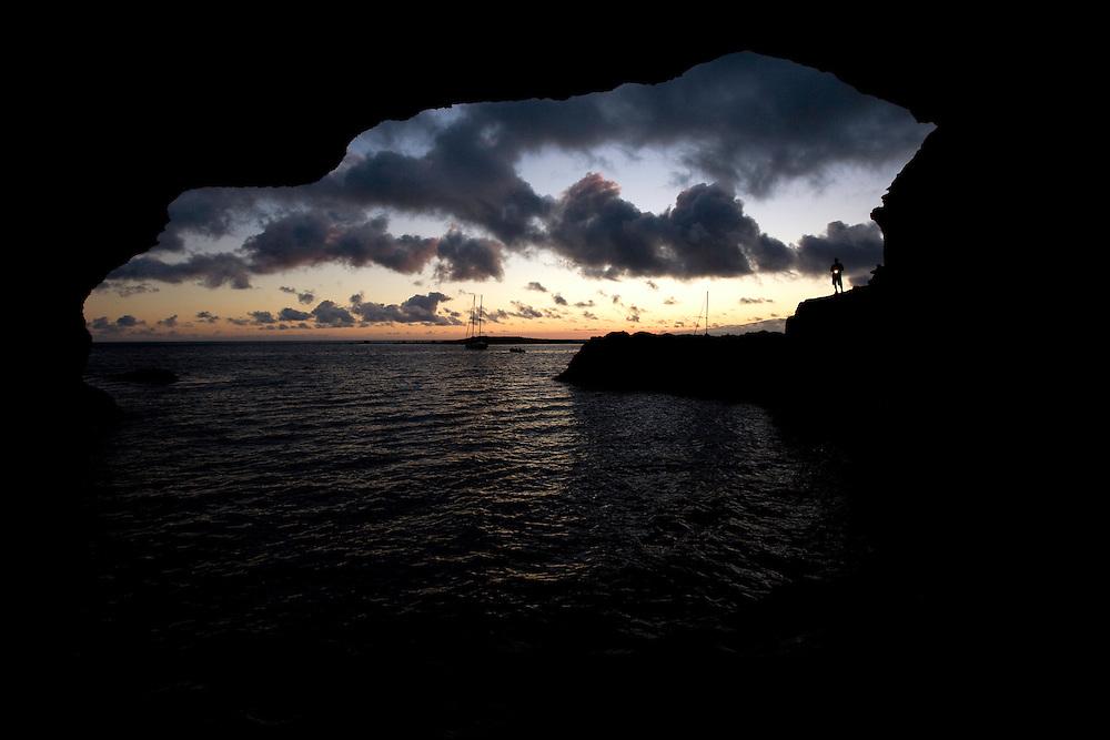 Mission - Monk Seal<br /> Desertas Islands – Deserta Grande - Madeira, Portugal. August 2009.<br /> Landscape, Furna da água cave, where Monk Seals are sometimes sighted