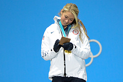 February 15, 2018 - Pyeongchang, South Korea - MIKAELA SHIFFRIN of the United States with her gold medal for the Ladies' Giant Slalom event in the PyeongChang Olympic games. (Credit Image: © Christopher Levy via ZUMA Wire)