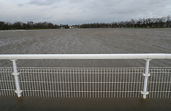 © Licensed to London News Pictures. 30/12/2015. York, UK. A view of the floodwater which has covered part of the track at York Racecourse. Photo credit : Anna Gowthorpe/LNP
