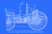 design of Peugeot Road Motor Carriage (Side Elevation) from the book ' Motor cars; or, Power carriages for common roads ' by Alexander James Wallis-Tayler,  Published in London, by Crosby Lockwood & son 1897. The Peugeot Type 2 is the first petrol/gasoline-powered motor vehicle produced between 1890 and 1891 by the French auto-maker Peugeot at their Valentigney plant. The car was presented just two years after Armand Peugeot had split away from the Peugeot family business in order to concentrate on cars, with a separate Peugeot Automobiles business.