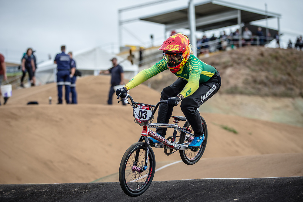 #93 (STEVAUX CARNAVAL Priscilla Andreia) BRA at Round 3 of the 2020 UCI BMX Supercross World Cup in Bathurst, Australia.