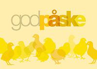 Typografisk påskehilsen og kyllinger, i påskegult-sjatteringer. Velegnet som hilsen til nettsted og sosiale medier når det er på tide å ta påskeferie.