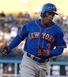 June 21, 2017 - Los Angeles, California, U.S. - New York Mets' Curtis Granderson rounds third base after hitting a solo home run against the Los Angeles Dodgers in the first inning of a Major League baseball game at Dodger Stadium on Wednesday, June 21, 2017 in Los Angeles. Los Angeles. (Photo by Keith Birmingham, Pasadena Star-News/SCNG) (Credit Image: © San Gabriel Valley Tribune via ZUMA Wire)