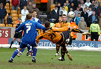 Photo: Ed Godden.<br />Wolverhampton Wanderers v Cardiff City. Coca Cola Championship. 11/03/2006. Wolves's Jeremie Aliadiere has a shot on goal.