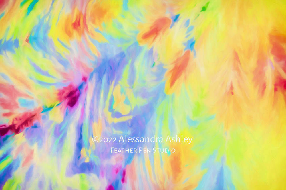 Abstract fluid tie dye pattern in bright pastel shades.  Watercolor paint effects over original photograph.