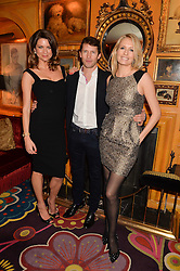 Left to right, GABRIELA PEACOCK, JAMES BLUNT and his wife SOFIA at the launch of GP Nutrition held at Annabel's, 44 Berkeley Square, London on 26th January 2016.