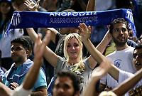 Fotball<br /> UEFA Champions League<br /> 01.10.2008<br /> FC Anorthosis Famagusta Nikosia v Panathinaikos<br /> Foto: imago/Digitalsport<br /> NORWAY ONLY<br /> <br /> Weiblicher Fan von Anorthosis Famagusta präsentiert seinen Schal