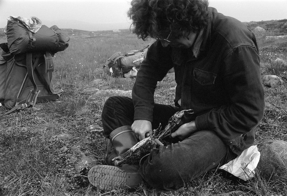 Torkat renkött smakar gott under vandring i Sarek, Lappland