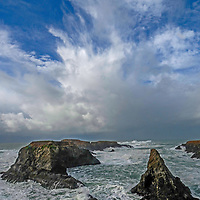 Pacific Ocean waves crash ashore at Medocino Headlands State Park, near Mendocino, California.