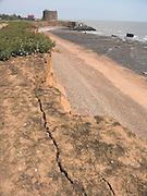Rapid coastal erosion at East Lane, Bawdsey, Suffolk, England