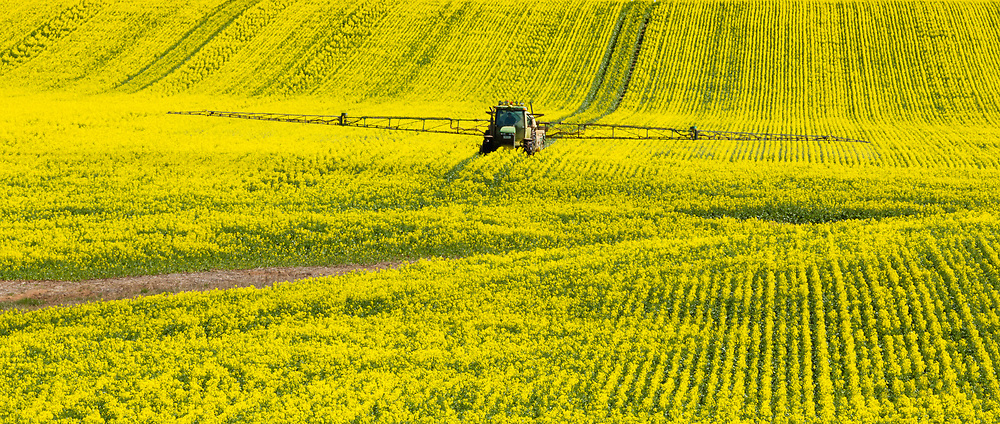 John Deere tractor and sprayer unit spraying field of canola near  Yathella, New South Wales, Australia. <br /> <br /> Editions:- Open Edition Print / Stock Image