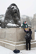 Fresh snow at Trafalgar Square following the arrival of Storm Emma which is set to bring further widespread disruption to many parts of the UK on 2nd March 2018 in Central London, London, United Kingdom. Freezing weather conditions dubbed the Beast from the East brings snow and sub-zero temperatures to the UK.