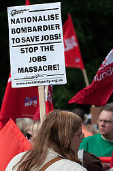 © Licensed to London News Pictures. 23/7/2011. Derby, UK. Union members and members of the general public march today (23/07/2011) in Derby against job cuts at Bombardier, the UK's last remaining train maker. Approximately 1400 jobs are due to be cut at Bombardier after German manufacturer Siemens were announced as the preferred bidder for the Government Thameslink contract worth an estimated £1.4bn. Photo credit : Tim Goode/LNP