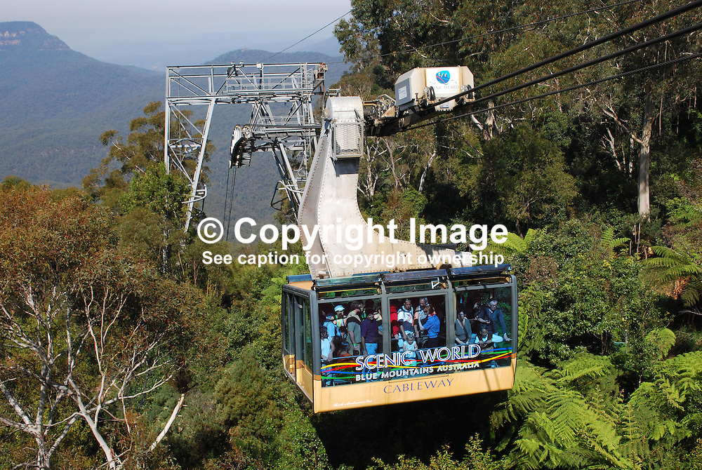 Scenic Cableway, in the Blue Mountains, New South Wales, Australia, is the steepest aerial cable car in the Southern Hemisphere! The Scenic Cableway takes you on a 545 metre ride into - or out of - the World Heritage-listed rainforest of the Jamison Valley. Once at the bottom, you can take the Scenic Walkway to the base of the Scenic Railway. In all, there are just under three kilometres of elevated boardwalk, 380 metres of which is accessible by wheelchair. The Scenic Cableway can carry up to 84 passengers and is completely wheelchair accessible. 201003273464.<br /> <br /> Copyright Image from Victor Patterson, Belfast, UK<br /> <br /> t: +44 28 9066 1296 (from Rep of Ireland 048 9066 1296)<br /> m: +44 7802 353836<br /> e: victorpattersonbelfast@gmail.com<br /> <br /> www.images4media.com<br /> <br /> Please see my full Terms and Conditions of Use at https://www.images4media.com/p/terms-conditions - it is IMPORTANT that you familiarise yourself with them.<br /> <br /> Images used online incur an additional cost. This cost should be agreed in writing in advance. Online images must be visibly watermarked i.e. © Victor Patterson or that of the named photographer within the body of the image. The original metadata must not be deleted from images used online.<br /> <br /> This image is only available for the use of the download recipient i.e. television station, newspaper, magazine, book publisher, etc, and must not be passed on to a third party. It is also downloaded on condition that each and every usage is notified within 7 days to victorpattersonbelfast@gmail.com.<br /> <br /> The right of Victor Patterson (or the named photographer) to be identified as the author is asserted in accordance with The Copyright Designs And Patents Act (1988). All moral rights are asserted.