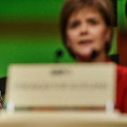 Scottish National Party (SNP) leader Nicola Sturgeon delivers a closing speech at the party's spring conference Glasgow,Scotland. On the left is former leader Alex Salmond.  28 March 2015. The SNP are hosting their 2015 Campaign Conference in Glasgow on 28/29 March 2015<br /> <br /> Must credit photo to Robert Perry<br /> FEE PAYABLE FOR REPRO USE<br /> FEE PAYABLE FOR ALL INTERNET USE<br /> www.robertperry.co.uk<br /> NB -This image is not to be distributed without the prior consent of the copyright holder.<br /> in using this image you agree to abide by terms and conditions as stated in this caption.<br /> All monies payable to Robert Perry<br /> <br /> (PLEASE DO NOT REMOVE THIS CAPTION)<br /> This image is intended for Editorial use (e.g. news). Any commercial or promotional use requires additional clearance. <br /> Copyright 2014 All rights protected.<br /> first use only<br /> contact details<br /> Robert Perry     <br /> 07702 631 477<br /> robertperryphotos@gmail.com<br /> no internet usage without prior consent.         <br /> Robert Perry reserves the right to pursue unauthorised use of this image . If you violate my intellectual property you may be liable for  damages, loss of income, and profits you derive from the use of this image.
