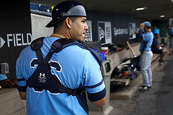 June 5, 2017 - St. Petersburg, Florida, U.S. - WILL VRAGOVIC       Times.Charlotte Stone Crabs catcher Wilson Ramos (36) in the dugout before the start of the game between the Charlotte Stone Crabs and the Clearwater Threshers at Spectrum Field in Clearwater, Fla. on Monday, June 6, 2017. (Credit Image: © Will Vragovic/Tampa Bay Times via ZUMA Wire)