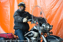 "Timmy Cooper on his Harley-Davidson Panhead at Warren Lanes ""True Grit"" gathering of pre-1970's motorcycles at Destination Harley-Davidson during Daytona Beach Bike Week 2015. Ormond Beach, FL, USA. March 8, 2015.  Photography ©2015 Michael Lichter."