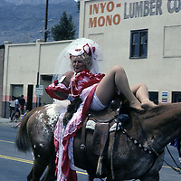 """CALIFORNIA. Comedy rider in annual parade at famed """"Mule Days"""" in Bishop, CA."""