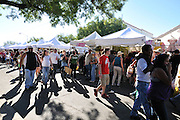 Crowds and exhibitor booths at 4th Avenue Street Fair in Tucson, Arizona.
