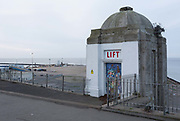 The closed lift on West Cliff Promenade that overlooks the Port of Ramsgate, on 8th January 2019, in Ramsgate, Kent, England. The Port of Ramsgate has been identified as a Brexit Port by the government of Prime Minister Theresa May, currently negotiating the UKs exit from the EU. Britains Department of Transport has awarded to an unproven shipping company, Seaborne Freight, to provide run roll-on roll-off ferry services to the road haulage industry between Ostend and the Kent port - in the event of more likely No Deal Brexit. In the EU referendum of 2016, people in Kent voted strongly in favour of leaving the European Union with 59% voting to leave and 41% to remain.