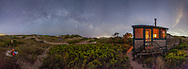Six 30 second vertical images were stitched together to create this night-time panorama at the Fowler Dune Shack.
