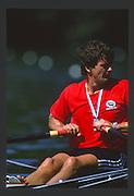 Lucerne, SWITZERLAND. GER [RFA]  M1X Peter Michael KOLBE. 1988 Lucerne International Regatta, Lake Rotsee. June 1988 [Mandatory Credit - Peter Spurrier/Intersport Images] 1988 Lucerne International Regatta