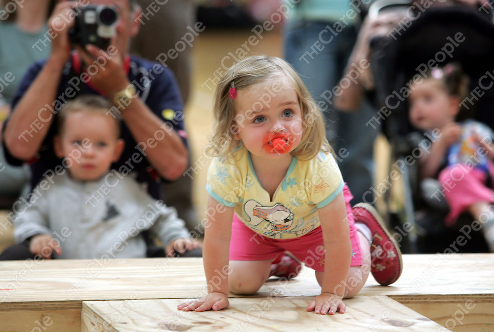 Lauren Whelan age 2 from Newmarket on Fergus climbs up on the catwalk at the Shannon Leisure centre where there was a week long summer school for kids. pic sean Curtin Prerss 22.